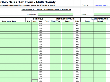 report monthly sales tax to sales tax office cfaes finance