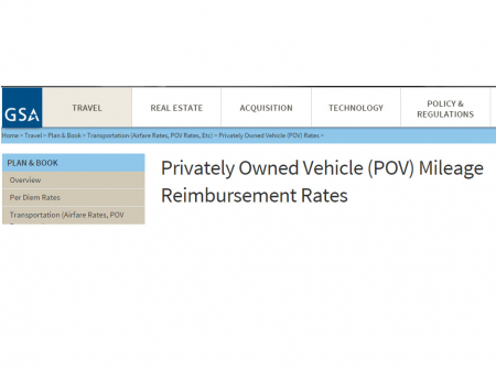 mileage rate change and new travel forms posted for calendar year